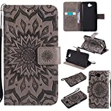 Custodia Huawei Enjoy 5 / Y6 Pro Cover Grigio , Cozy Hut Huawei Enjoy 5 / Y6 Pro Flip Cover con Slot per Schede Wallet Shell per Huawei Enjoy 5 / Y6 Pro Case, Retro Fiore del sole Modello Design Con Cinturino da Polso Magnetico Snap-on Book style Internamente Silicone TPU Custodie Case in pelle Protettiva Flip Cover per Huawei Enjoy 5 / Y6 Pro - Fiore grigio sole