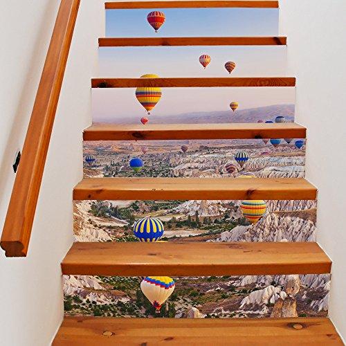 GOUZI Die Treppe Selbstklebend 3D Treppe DIY Ballon Dekorationen wasserdicht Treppenlift, 18 * 100 cm * 6 pcs Abnehmbare Wall Sticker für Schlafzimmer Wohnzimmer Hintergrund Wand Bad Studie Friseur