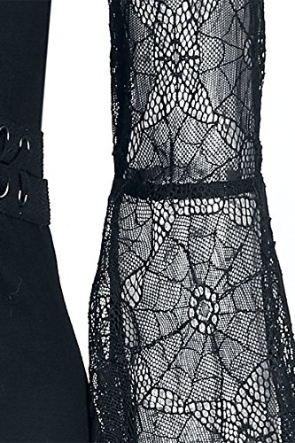 Gothicana by EMP Spider Lace Longsleeve Manica Lunga Donna Nero Nero