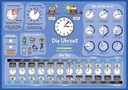 (mindmemo Lernposter - Die Uhrzeit lernen Grundschule Poster Deutsch lernen Uhr für Kinder Lernhilfe Zusammenfassung DIN A2 42x59 cm PremiumEdition in Transportrolle)