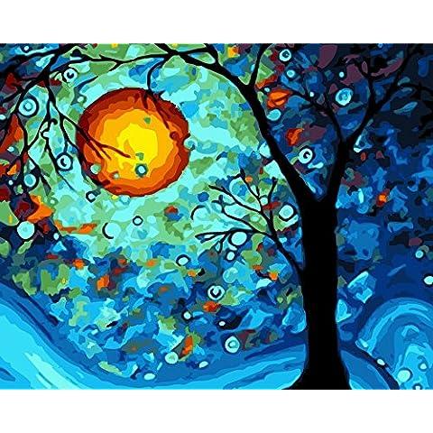 IPLST@ Pinturas al óleo sin marco digital por números, paisaje del árbol de pintura de la vida de la lona arte de la pared, pintura al óleo de los kits de bricolaje-16x20inch