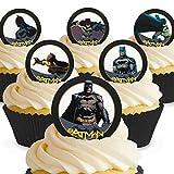 12 x Vorgeschnittene und Essbare Batman Comic Kuchen Topper (Tortenaufleger, Bedruckte Oblaten, Oblatenaufleger)