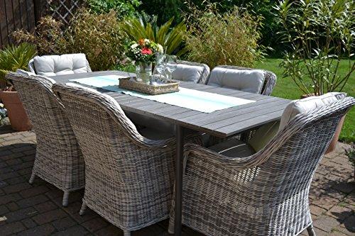 Gartenmöbel Set Como 6 Tisch Ausziehbar Holzdekor Mit 6 Sessel Rattan  Polyrattan Geflecht   6