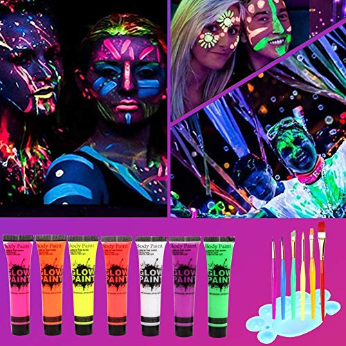 luoreszierendes Make-up für schwarzes Licht für Kinder Erwachsene 25 ML leuchtende Gesichtsfarbe Salbe Satz von 7 Röhren mit 6 Bürsten ()
