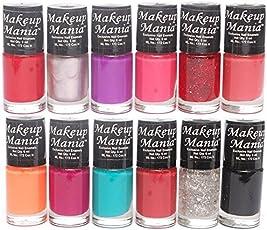 Makeup Mania Nail Polish Set Combo, Red, Orange, Pink, Silver, Purple, Black (Pack of 12)