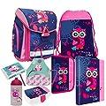 Eule Owl 8 Teile Set SCHULRANZEN RANZEN TORNISTER FEDERMAPPE TASCHE Brotdose mit Sticker von kids4shop