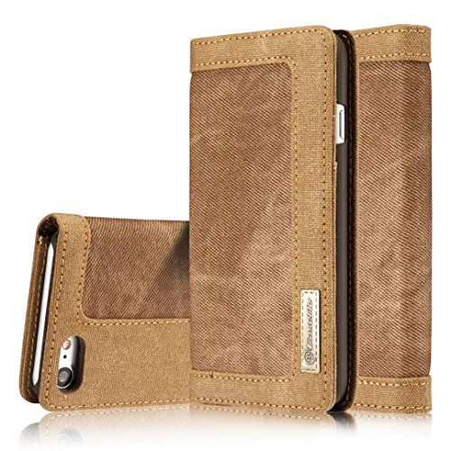 YHUISEN iPhone 7/iPhone 8 Fall, [Denim Series Wallet Case] ​​Premium Canvas Denim Flip Folio Schutzhülle mit Stand für iPhone 7/ iPhone 8 ( Color : Brown ) Brown