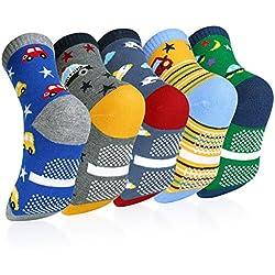 VBIGER 5 pares Niños Calcetines de Invierno Algodón Caliente Antideslizantes Calcetines 3-5 Años