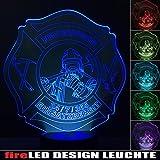 Feuerwehr LED Leuchte Lampe Nachtlicht Designleuchte fireLED mit 6 versch. Farben Touchfunktion
