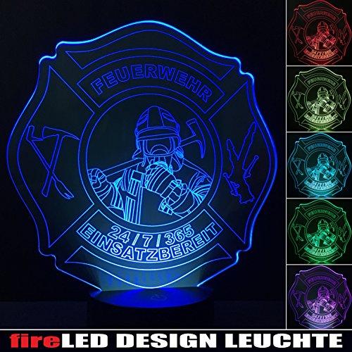 feuerwehr handlampe Feuerwehr LED Leuchte Lampe Nachtlicht Designleuchte fireLED mit 6 versch. Farben Touchfunktion