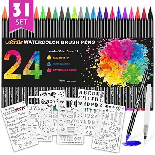 Aquarellstifte, Set[24+1Pinselstiften Aquarellpinsel+6 Schablonen+1 Wasserbürste ], Malermarkierungen für Kalligraphie, Manga-Zeichnung, Künstler, Anfänger Maler(24 Farben) -
