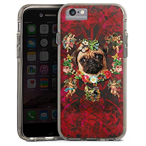 Apple iPhone 6s Plus Bumper Hülle Bumper Case Glitzer Hülle Mopsi Engel Blumen Mops Hund Bumper Case transparent grau