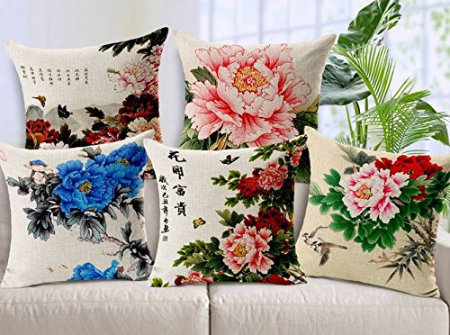 Amazing India Floral Cushions Cover(Pack of 5, 40 cm*40 cm, White)