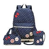 FRISTONE Mädchen Polka Punkt Schulrucksack Kinder Daypack/schulrucksäcke /Kinderbuchtasche Mädchen Teenager + Mini handtasche + Geldbeutel Umhängetasche,Set von 3 (Navy Blau)