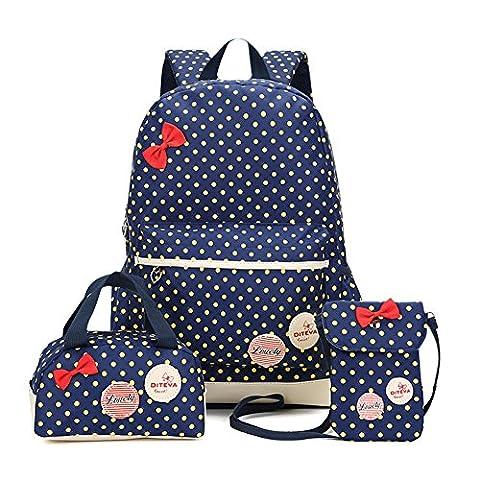 FRISTONE Mädchen Polka Punkt Schulrucksack Kinder Daypack/schulrucksäcke /Kinderbuchtasche Mädchen Teenager