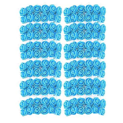 Powlance matrimonio decorazione 144pcs 2cm schiuma rose artificiali bouquet multicolore rose decorazione, lake blue, taglia unica