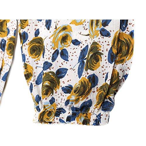 YuanDian Femme Ete Décontracté Grande Taille Rétro Bohème Style Mousseline Imprimé Floral Large Sarouel Pantalon Taille Elastique Taille Haute Mince Yoga Pantalon Blanc