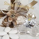 Bonboniere Kristall mit Platte aus Silber in Form von Blatt-Erste Kommunion Blume Bomboniera confezionata