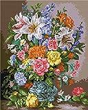 Diamond Vollbedeckung mit Holzrahmen Painting Set Bild 40 x 50 Diamant Malerei Stickerei Handarbeit Basteln Mosaik Steine Blumen Korb Haus am Bach (GZ1138)