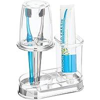 mDesign porte brosse à dent avec gobelet – verre à dent de qualité avec couvercle pour la salle de bain – rangement…