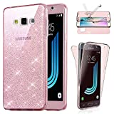 Coque [Avant + Arriere] Samsung Galaxy J7(2016) , Housse Etui Gel Silicone Protection intégral 360° Paillette Rose - E.F.Connection