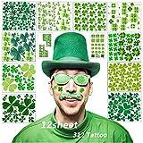 Tatouages   Shamrock, 12 feuilles d'autocollants pour tatouages   temporaires sur trèfle à quatre feuilles (Vert)