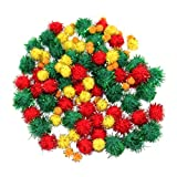 Green, White & Red Christmas Tinsel Arts & Crafts Pom Poms