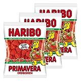 Haribo Erdbeeren Primavera, 3er Pack, Gummibärchen, Weingummi, Fruchtgummi, Im Beutel, Tüte