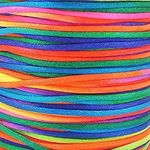 Fädelschnur/ Schmuckschnur, 20m x 2mm, Regenbogenfarben Vielseitig einsetzbare Fädelschnur /