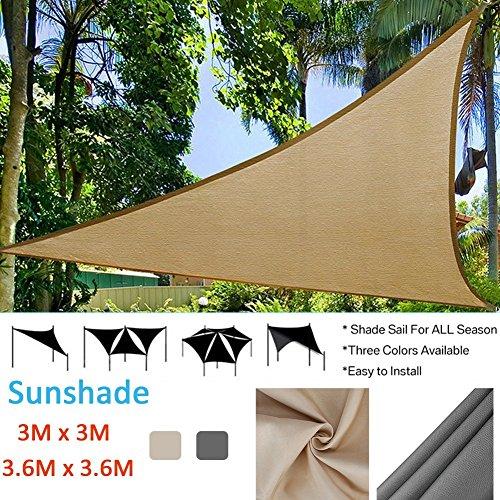 Auvent Toile Triangle Voile d'ombrage Rectangulaire | 3 * 3m 3.6 * 3.6m Crème | Une Protection des Rayons UV | d'ombrage Auvent Pare-soleil de Jardin