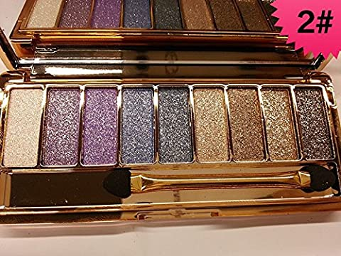 JGB 9 Colors Diamond Bright Colorful Makeup Eye Shadow Palette Set Flash Glitter Eyeshadow with Brush,6 Edition … (2)