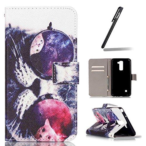 Coque Etui pour LG G Stylo 2 /LG G Stylus 2 LS775, LG G Stylo 2 Coque en Cuir Portefeuille Flip Etui Housse, LG G Stylus 2 LS775 PU Cuir Coque Folio Stand Etui Wallet Case Cover, Ukayfe Etui de Protec Lunettes de chat