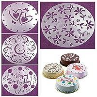 BeatlGem Birthday Cake Mold 4 PCS 4 Styles Flower Heart Spray Stencils Birthday Cake Mold Decorating Bakery Tools DIY Cake Mold