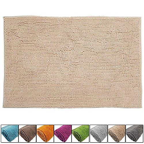 SunDeluxe Chenille Badematte Größen, Badteppich aus Microfaser nach ÖKO TEX Standard 100, Welness Badeteppich/Duschvorleger, Größe:50 x 80 cm, Farbe:Beige -