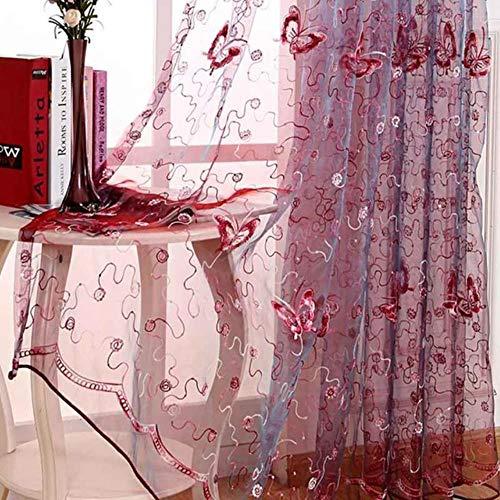 PENVEAT Französisch Romantischer Leuchtender Schmetterling gestickte Voile-Vorhang-Panel-Fenster