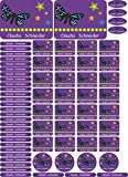 INDIGOS UG Namensaufkleber/Sticker - A4-Bogen - 047 - Schmetterling - 69 Sticker für Kinder, Schule und Kindergarten - Stifte, Federmappe, Lineale - auch für Erwachsene - individueller Aufdruck
