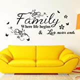 family where life begins famous quotes wall sticker for livingroom bedroom home decoration mural