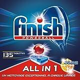 Finish Powerbal Détergent All in 1 Max pour lave-vaisselle et taches, 3 x 45 pastilles pour lave-vaisselle