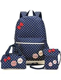 FRISTONE Conjunto de 3 Polka Dot mochilas escolares/ escolares bolsas/mochila niños niñas adolescentes + mini bolso + bolso crossbody (Azul Marino)