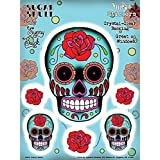 Sunny Buick - Rose Tattoo'd Sugar Skull autocollant Sticker - 6'' x 8'' - Weather Resistant, Long Lasting for Any Surface