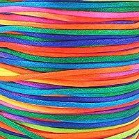 20m corda arcobaleno 2mm. Kumihimo/Shamballa/nodi/Macrame braccialetto/cavo/filo/E/cordoncino per
