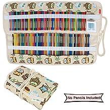 Damero impresiones de lienzo de 72 lápices de colores, lápiz de la caja del sostenedor del rodillo bolsa multiusos para la Oficina de la Escuela, Arte, Artesanía, lápiz bolsa de viaje, Coffee Owls(lápices no incluidas)