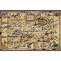 "Harry Potter Wizarding World Signed PP by 27 Cast J.K Rowling Daniel Radcliffe Emma Watson Rupert Grint Alan Rickman Poster Photo 12x8"" Ultimate Hogwarts Map"