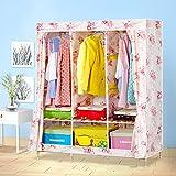 Cqq guardarropa Armario de madera maciza Armario simple de la ropa de los niños Armario plegable de la combinación de gran tamaño ( Color : D )