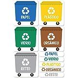 Haberdashery Online 5 Etiquetas Adhesivas para Reciclaje Basura. Pegatinas para la gestión de residuos. Cada una de 4,8 x 4,8
