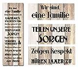 Holzschild FAMILIENREGELN 40x120cm Deko-Wandbild Schild Vintage Shabby Spruch