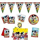 Mickey Mouse Clubhouse Partyset 50tlg. Teller Becher Einladung Wimpel Einladung Tischdecke Tüten für 6 Kinder