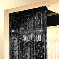 Topixdeals Rare Flat Silver Ribbon Door String Curtain Thread Fringe Window Panel Room Divider Cute Strip Tassel Party Events 110 X 110 Inch (1 Pack) Black JS-0O3T-ZT28