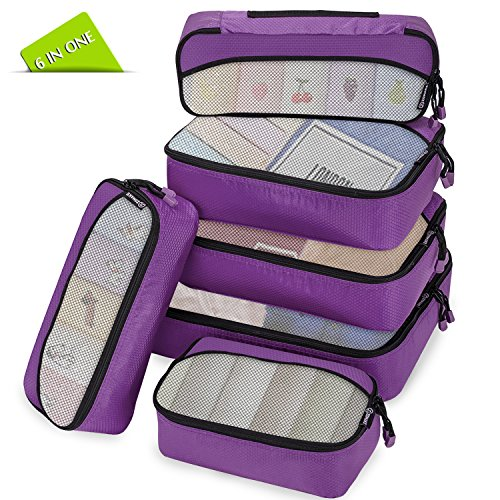 zomake packing cubes packw rfel set kleidertaschen packtaschen 6 teiliges ltra leichte koffer. Black Bedroom Furniture Sets. Home Design Ideas