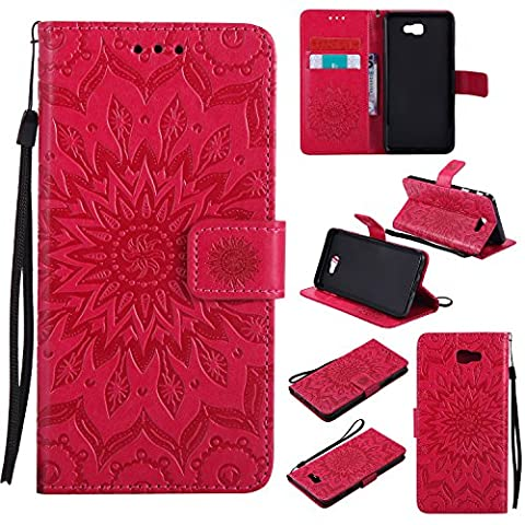 For Samsung Galaxy J7 Prime Case [Red],Cozy Hut [Wallet Case] Magnetic Flip Book Style Cover Case ,High Quality Classic New design Sunflower Pattern Design Premium PU Leather Folding Wallet Case With [Lanyard Strap] and [Credit Card Slots] Stand Function Folio Protective Holder Perfect Fit For Samsung Galaxy J7 Prime SM-G610F 5,5 inch -